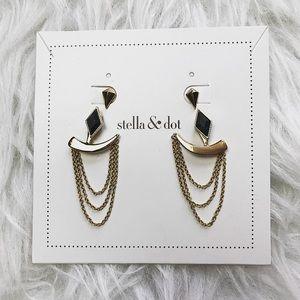 Stella & Dot Gold Ear Cuffed Hanging Earrings
